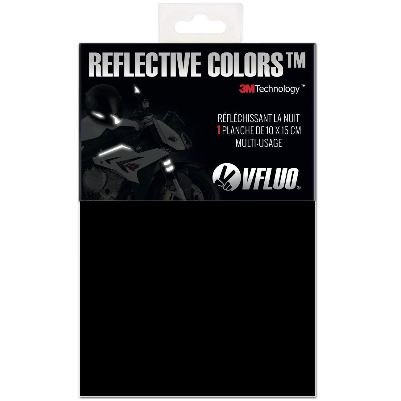 VFLUO 3M REFLECTIVE COLORS/™ Universal adhesive DIY kit for Helmet//Motorbike//Scooter//Bike 10 x 15 cm sheet Black 3M Technology/™