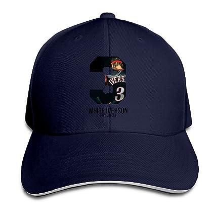 26e7462688d Hotgirl4 Adult White Iverson Post Malone Sandwich Bill Baseball Hat Navy