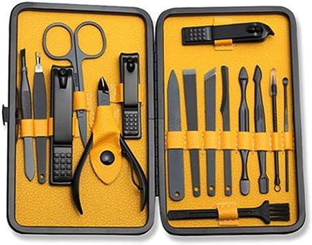 Manicura, kit de pedicura, cortauñas, 16 piezas, kit de aseo profesional, herramientas de uñas con estuche de viaje de lujo: Amazon.es: Bricolaje y herramientas