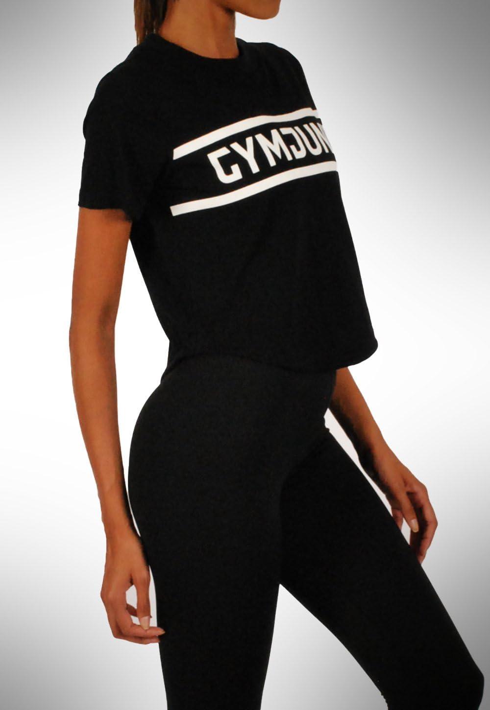 GYMJUNKY Women Crop Supreme Camiseta Negro – Mujer ...