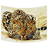 Custom Special Effect Leopard with Authentical Blue Eyes Wild Animal Print Tapestry Wall Hanging,Wall Art, Dorm Decor,Wall Tapestries Size 80x60 inches