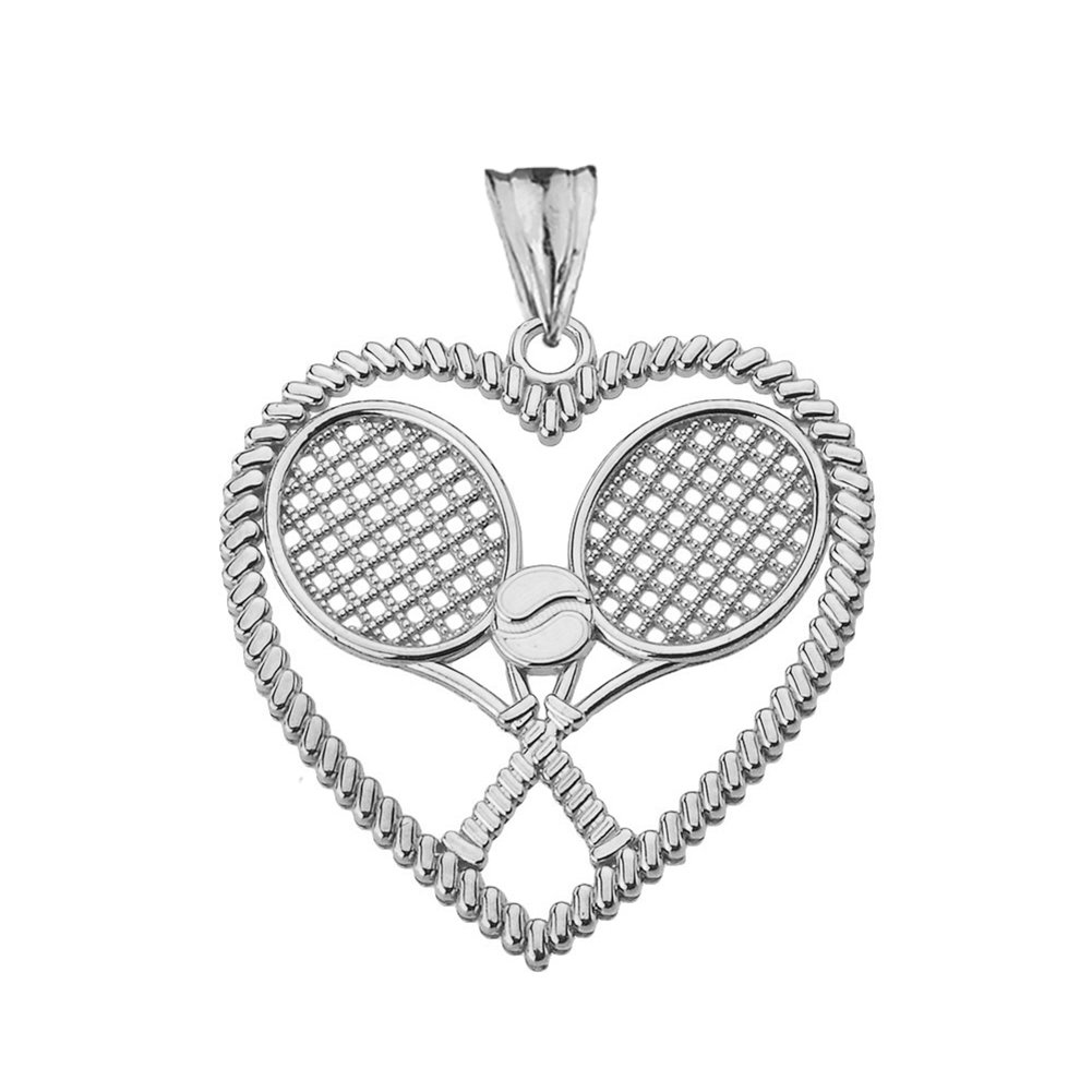Fine Sterling Silver The Love of Tennis Heart-Shaped Sports Charm Pendant Necklace