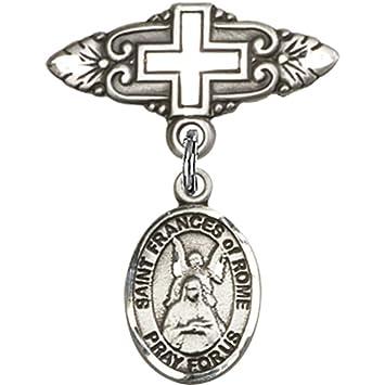 Amazon.com: Plata de ley bebé Badge with St. Frances de Roma ...
