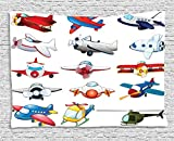 Airplane Collection Illustration Of Different Kind Of Planes Toys Amusement Automated Childhood Cartoon Machine Sofa Supersoft Throw Fleece Blanket Supersoft Throw Fleece Blanket 49.21x78.74 Inches
