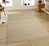 Glitzhome 5'Lx3'W Handcrafted Woven Beige Heavy Premium Wool Area Rug