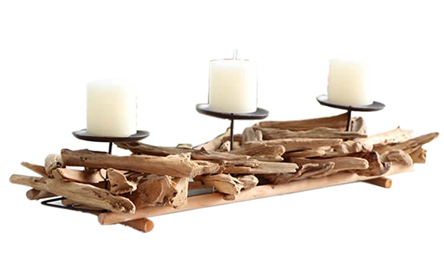 Liveiny Reclaimed Twisted Wood Tealight Candle Sticks Holder For 3 Candle Bowls