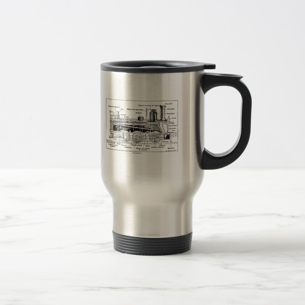 Zazzle Steam Engine Diagram Travel Mug, Stainless Steel Travel/Commuter Mug 15 oz