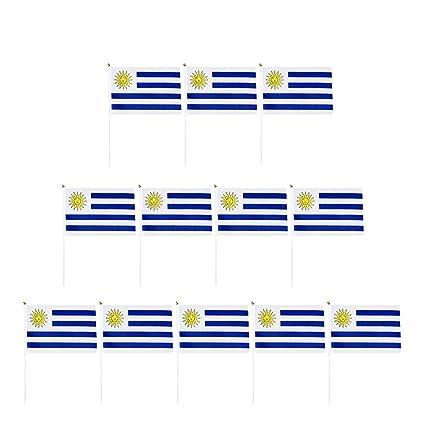 P PRETTYIA 12 Piezas Banderas de Mano de Orgullo Nacional - 14x 21cm - Uruguay
