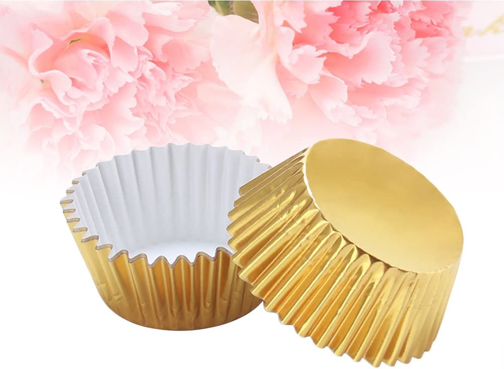 Golden ULTNICE 100pcs Gold Foil Cupcake Liners Aluminum Thickened Baking Muffin Paper Cups Cases