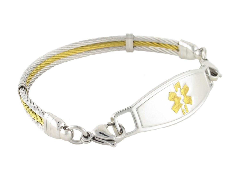 "Women's Fashionable Medical Alert Bracelet ""Lymphedema Alert,No Needles/BP,Right Arm"", Golden Gate Cable, Gold, 8.25"