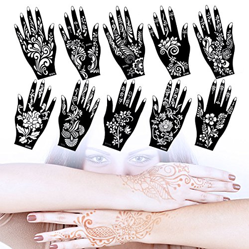 Lady Up 10 Sheets Henna Tattoo Stencils Temporary Tattoo Temples Set Indian Arabian Tattoos Reusable Stickers Stencils Body Art Designs for Hands by Lady Up