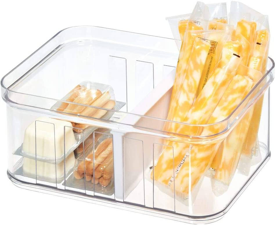 iDesign Fridge Storage Box (21 cm x 16 cm x 9.6 cm), Small Kitchen Storage Container Made of BPA-Free Plastic, Kitchen Organiser for Tinned Foods, Spices and More, Clear