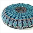 """EYES OF INDIA - 32"""" Blue Mandala Large Floor Pillow Cover Meditation Cushion Seating Throw Hippie Round Colorful Decorative Bohemian Accent Boho Chic Dog Bed Indian Pouf Ottoman Handmade Cover ONLY"""