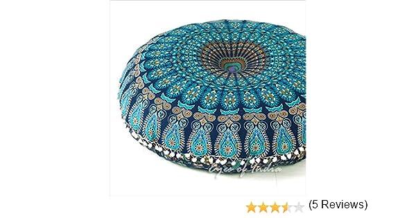 Eyes of India Mandala - Funda de cojín de meditación, diseño de Mandala, Redondo, Colorido, Decorativo, Bohemio, Bohemio, para Perro, Cama India, puf, ...