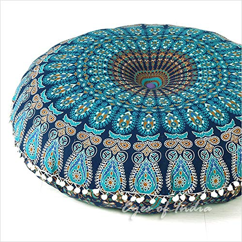 "- 32"" Blue Mandala Large Floor Pillow Cover Meditation Cushion Seating Throw Hippie Round Colorful Decorative Bohemian Boho Dog Bed Indian Pouf Ottoman Cover ONLY"