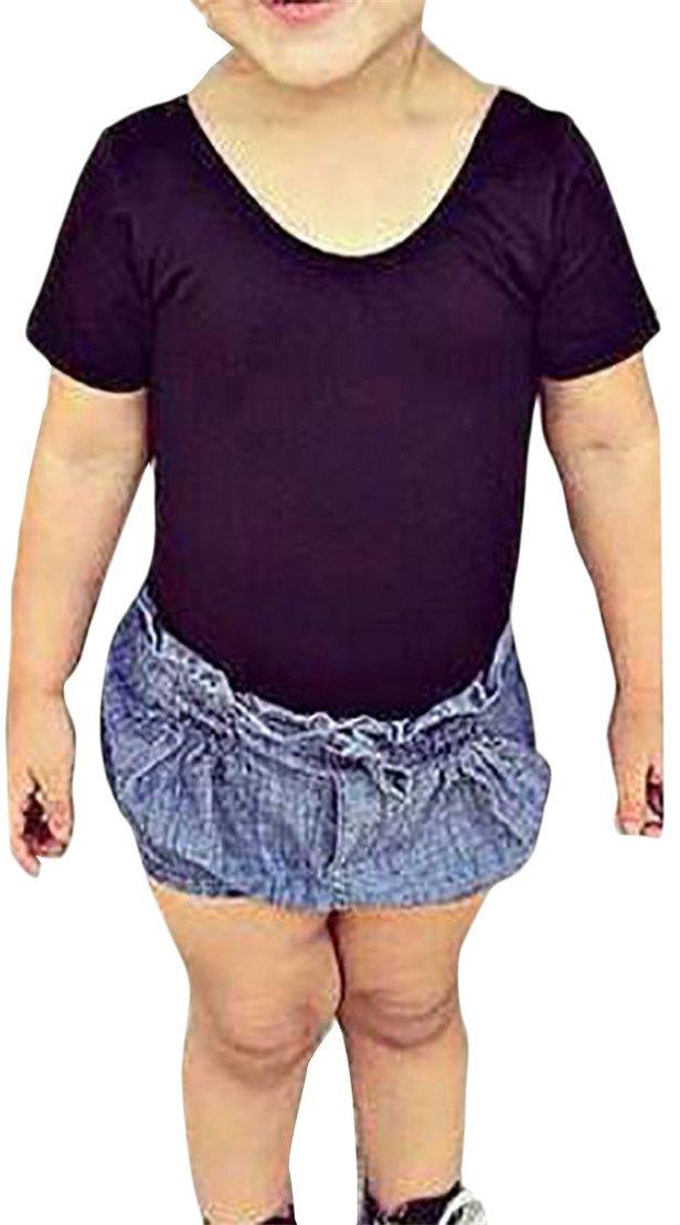 Cromoncent Girls Fashion Cotton Crewneck Short Sleeve Top Tee T-Shirts Black 2T