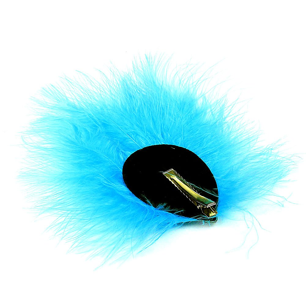XINRUI Handmade Feather Peacock Costume Hair Clip, Ballet Headwear Ballet Headwear (Blue)