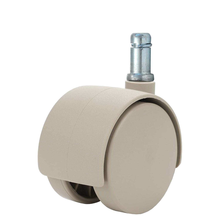 """Twin Wheel Caster Solutions TWHN-50N-G20-TN 2"""" Diameter Nylon Wheel Hooded Non-Brake Caster, 7/16"""" x 7/8"""" Grip Ring Stem, 110 lb Capacity Range"""