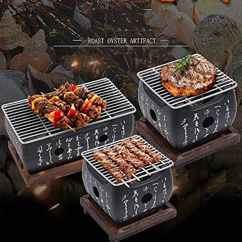 Barbecue de table traditionnel japonais Hibachi - Barbecue portable à charbon avec plaque de cuisson anti-adhésive 15*15*10cm(Medium)