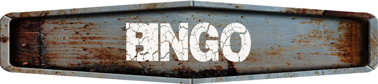 Any and All Graphics Bingo Rustic Weathered Metal Look Diamond Shaped 4''x18'' Composite Aluminum Novelty Street Sign by Any and All Graphics