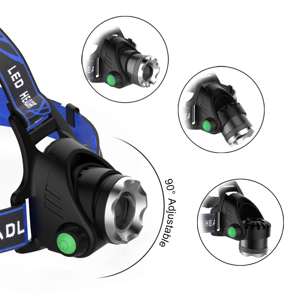 LED Rechargeable Headlamp LBJD Super Bright Headlight with 3 Rechargeable Batteries for long working time Camping USB Cable Charge Perfect for Night Riding Fishing Flashlight Hiking