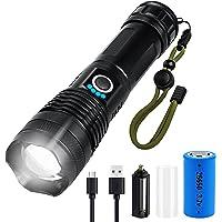 Lanterna LED, 5 Modos de Luz, Zoomable, USB Recarregável com 3000 Lúmens e Lanterna Tática Resistente à água IP65 para…