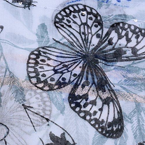 Femme Fil Jolie Ete D'or Echarpe All Paillettes En Coloré Bleu Printemps Anti Gland Impression 5 Longue Papillons Uv Foulard Grand CqICt