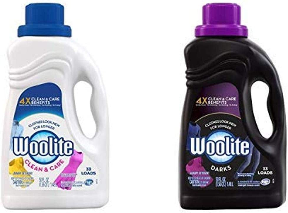 Woolite Clean & Care Liquid Laundry Detergent,Regular & HE Washers, Gentle Cycle, sparkling falls scent,packaging may vary AND Dark Care Laundry Detergent, Midnight Breeze Scent, 50 oz/ 33 Loads
