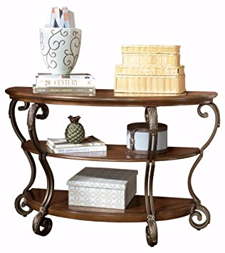 Ashley Furniture Signature Design   Nestor Sofa Table   2 Shelf   Semi  Circle   Medium