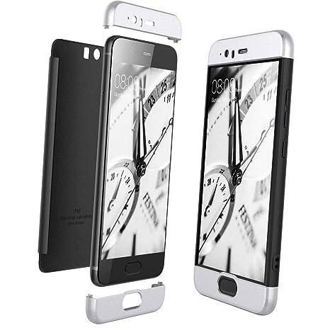 XCYYOO Funda para Huawei P10 Custodia de 360°Caja Protectora PC Shell,Carcasa Huawei P10 Silicona Snap On Diseño Antigolpes Choque Absorción Bumper ...