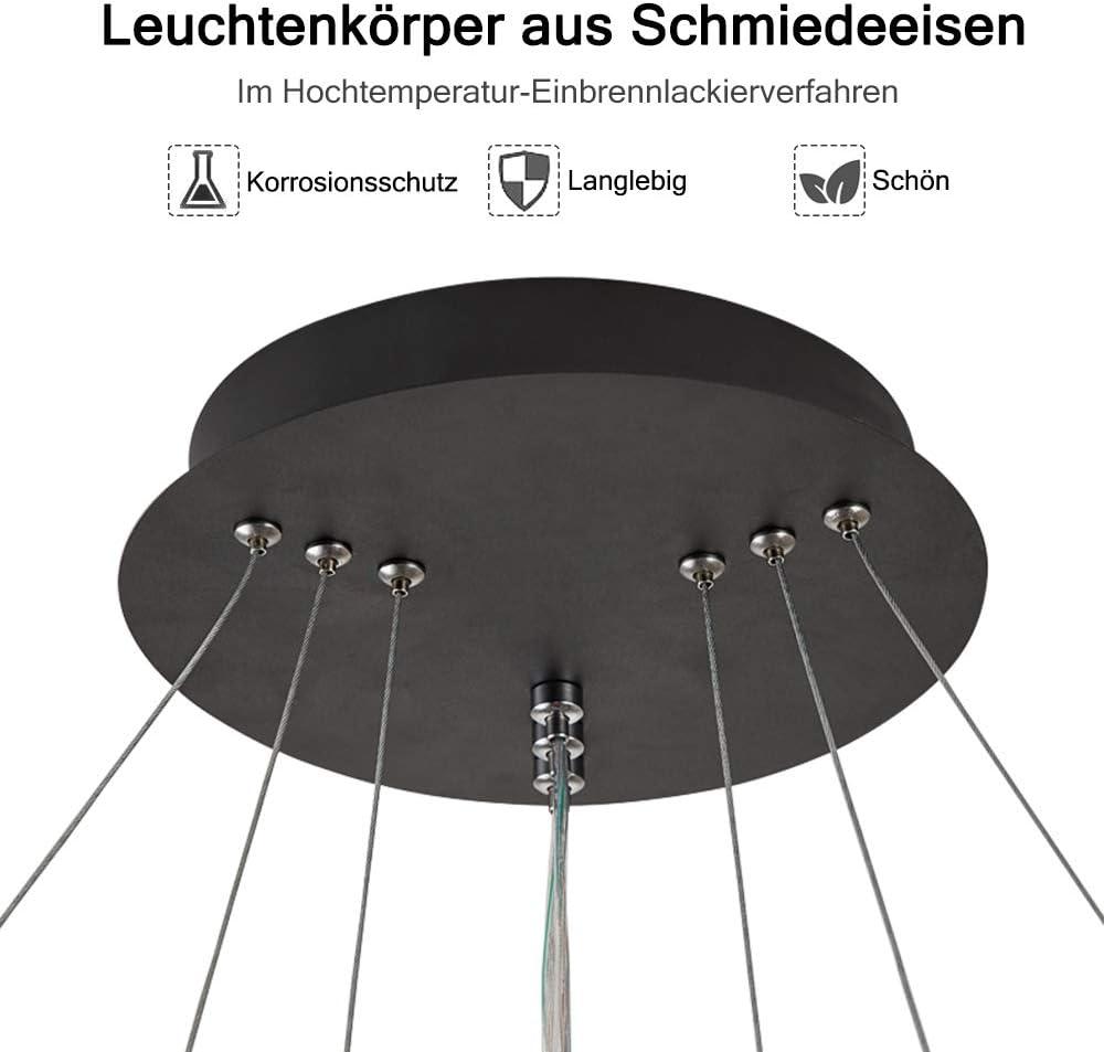 HENGMEI LED Kronleuchter H/ängelampe Pendelleuchte 72W Deckenleuchte H/öhenverstellbar H/ängeleuchte Drei Ringe 72W Warmwei/ß