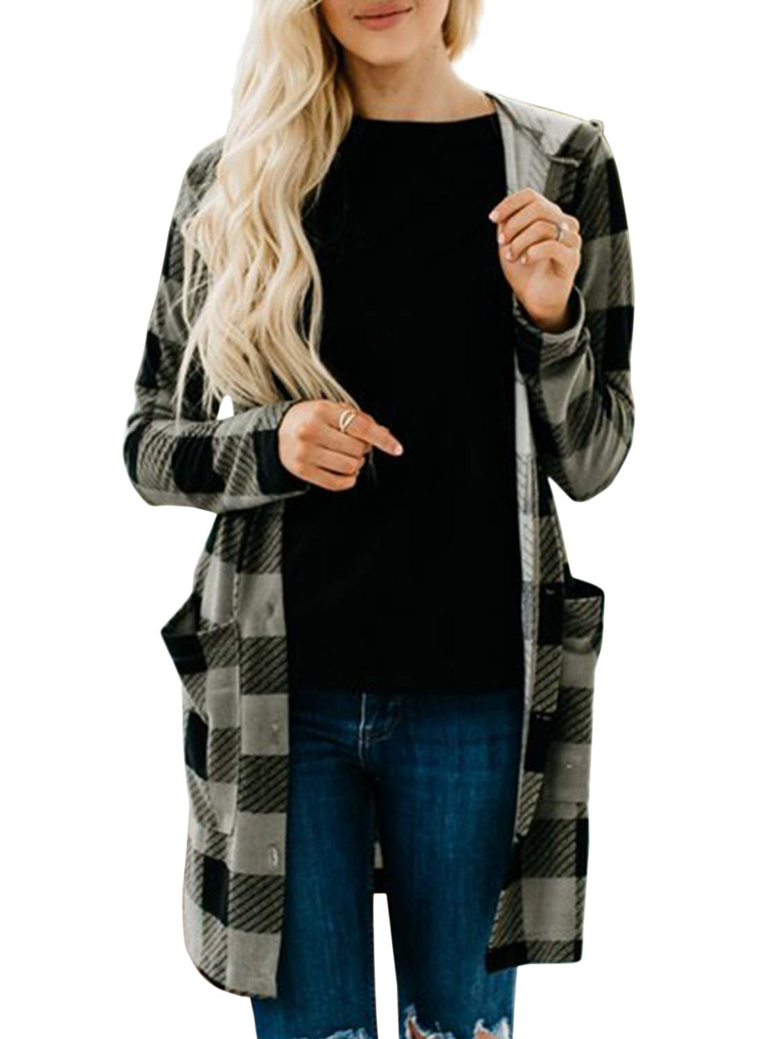 ZESICA Women's Long Sleeve Plaid Print Button Down Open Front Pockets Jacket Hoodie Cardigan