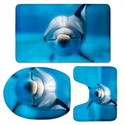 Amazoncom For U Designs Blue Bath Mat Set Friendly Dolphins
