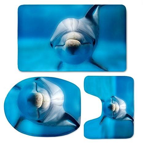 Awesome LedBack Dolphin Bathroom Rug Toilet Seat Cover Set Modern Blue Doormat For  Bath Bathtub No Slip