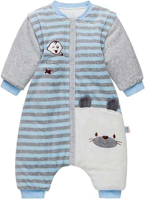 Bebé Saco de Dormir con Piernas Separable Algodón 3.5 Tog Invierno Bolsa de Dormir Mangas Larga Extraíbles para Niños Niñas 9-24 Meses: Amazon.es: Bebé