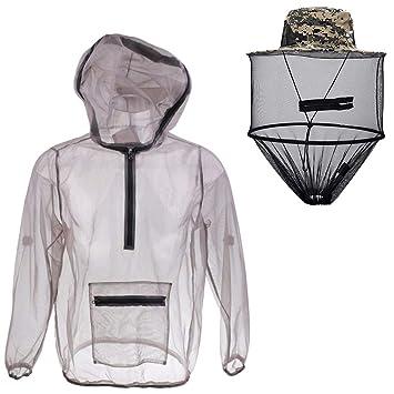Festnight Outdoor Ultraleicht Mesh Hooded Bug Jacke Anti-Moskito Durchsichtig Mesh-Schutzhemd Insektenschutz f/ür Camping Wandern Angeln Gartenarbeit