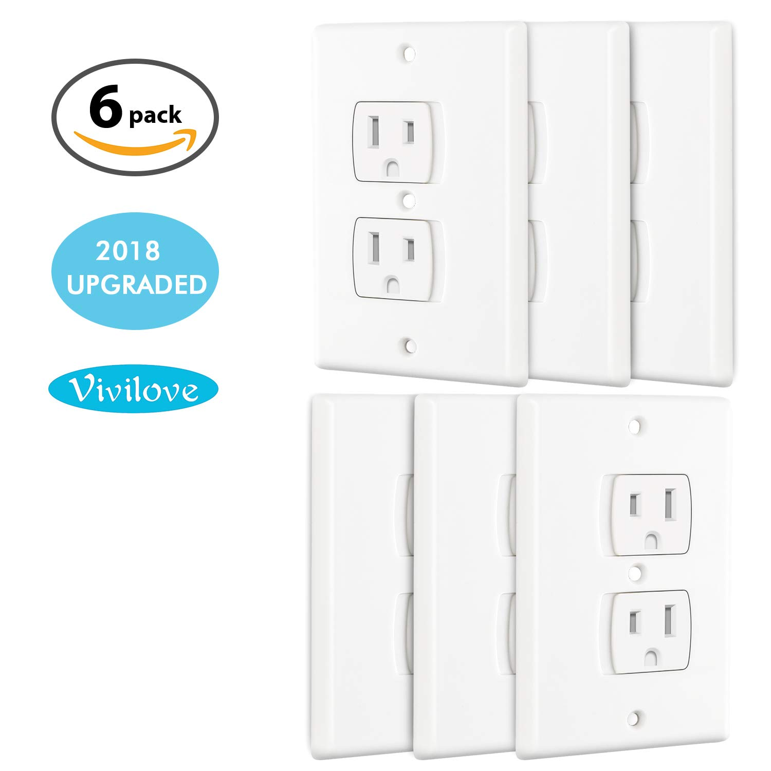 Self-Closing Wall Outlet Covers 6 Pack Universal Electric Socket Plugs Protector Baby Proofing Safety Guards, Retardant and BPA Free,Hardware Included, Easy to Install