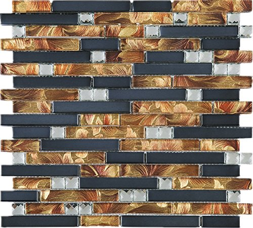(TDSG-13 Copper Brown Wallpaper Glass Mosaic Tile-Kitchen and Bath backsplash Wall Tile (Sample)