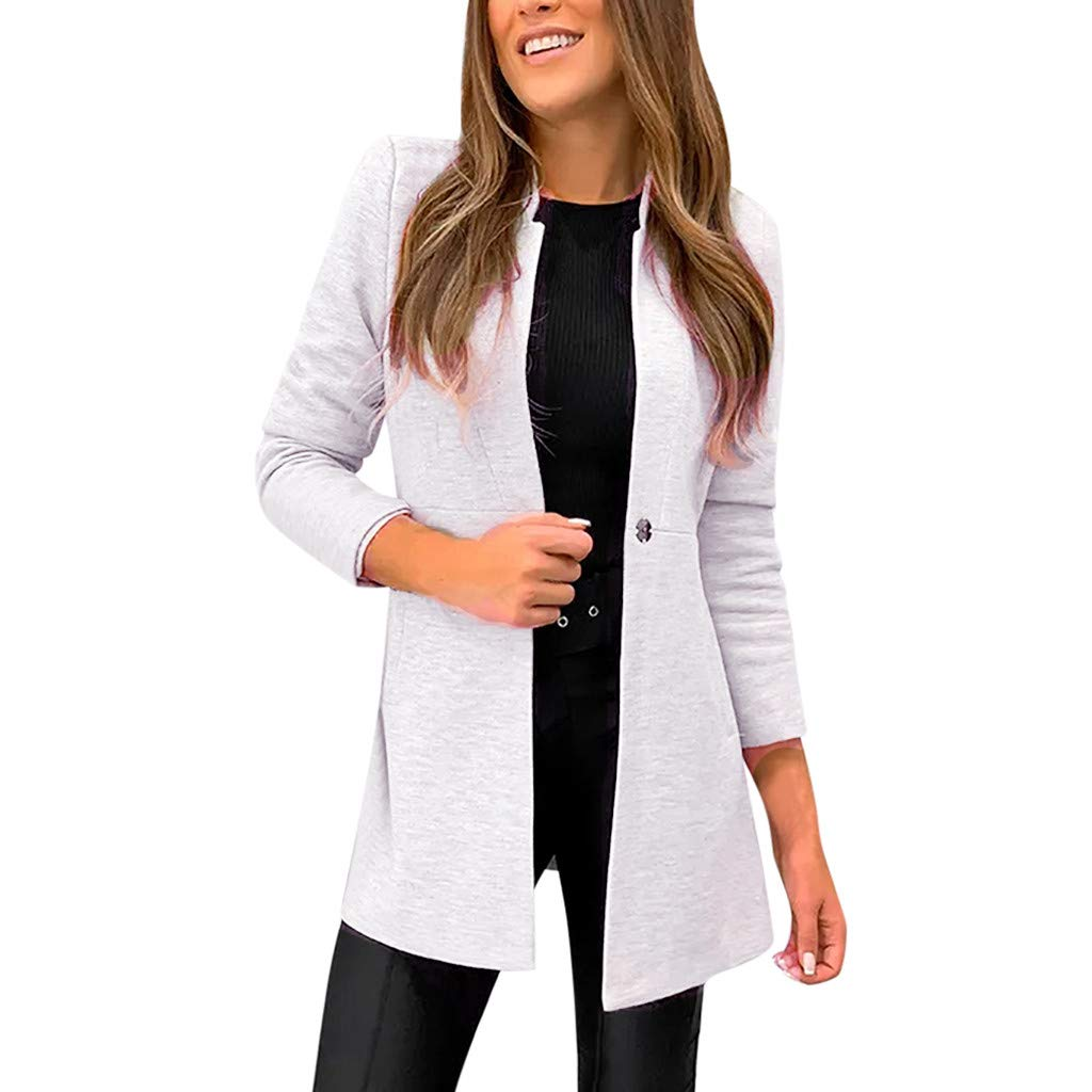 JESPER Women's Stand Collar Long Sleeve Blazer Coat Elegant Slim Fitted Wool Blend Suiting Overcoat (Gray Large(USA 12) /Tag XL)