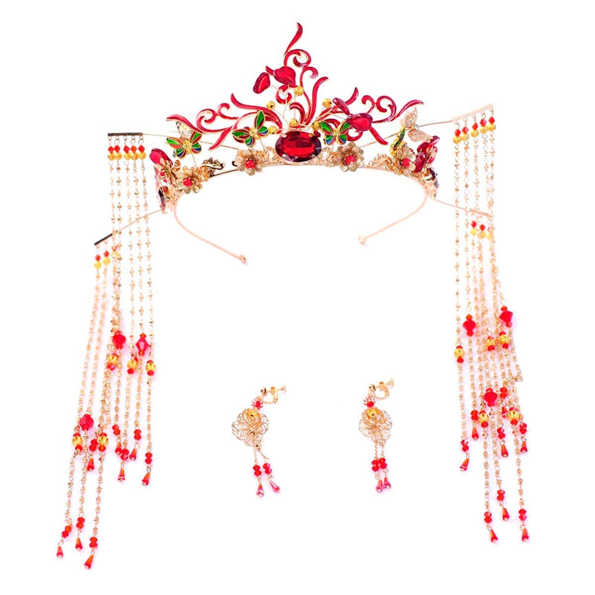 Wedding Crown, Beautiful headdress/Chinese Ancient Costume Bridal Crown Xiu Wo Dress Headgear Golden Fringes Toast Wedding Decorations.
