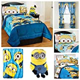 Despicable Me Minions Complete Kids Bedding Set w/ Reversible Comforter with Sham, Sheets, Pillow Case, Pillow Buddy, Plush Blanket & Window Curtains - Twin