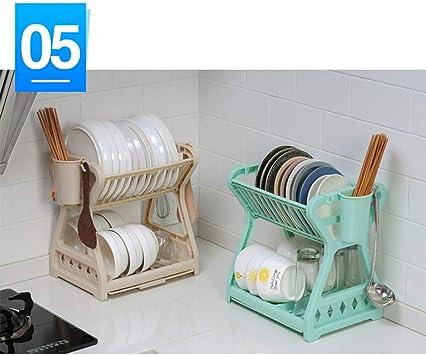 UPKOCH Dish Drainer Rack Kitchen Storage Rack Multifunctional Dish Drying Rack Plastic Cutlery Holder for Kitchen Countertop Khaki