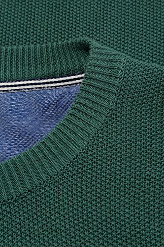 JP 1880 Herren große Größen Pullover aus Strukturstrick | Rundhalsausschnitt | Rippbündchen | bis Größe 7XL dunkelgrün 7XL 705704 41-7XL