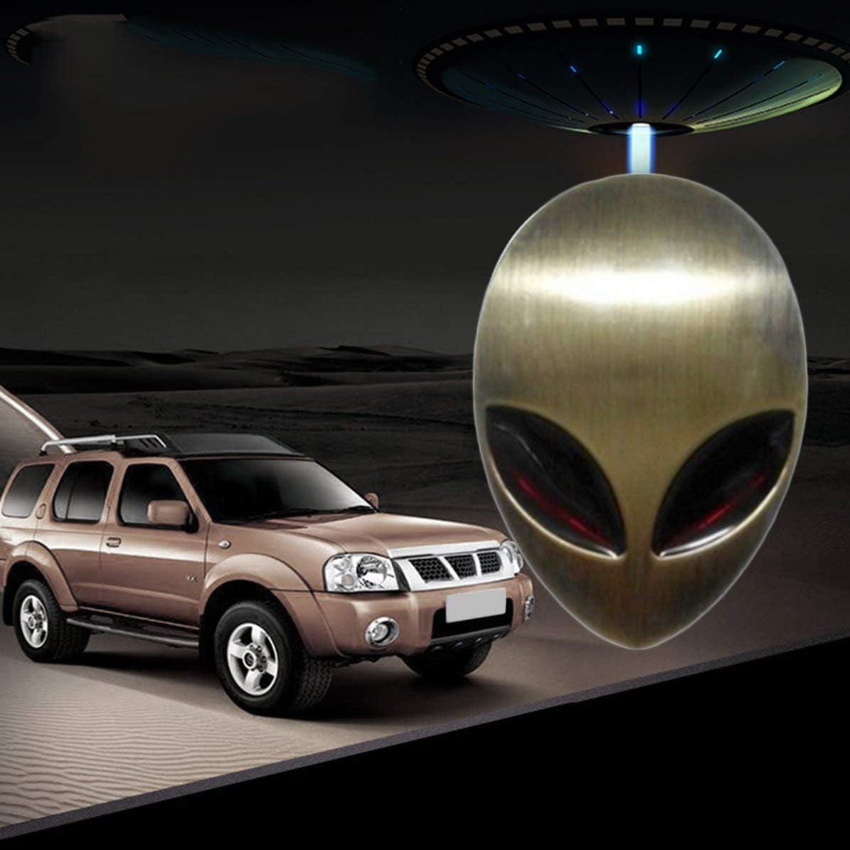 Gr/ün Bronze Cooles Auto Styling 3D 3M Sch/ädel Metall Alien Auto Motorrad Aufkleber Label Emblem Abzeichen Lustige Auto Aufkleber und Abziehbilder Zubeh/ör