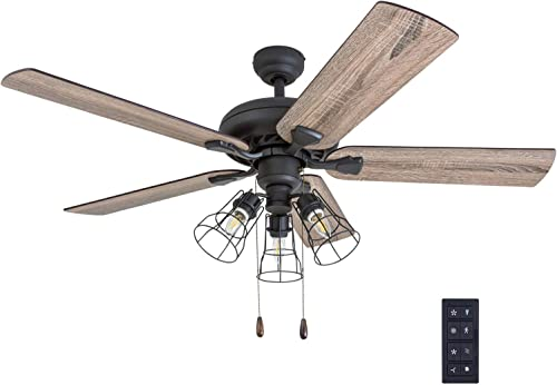 Prominence Home 50745-01 Lincoln Woods Farmhouse Ceiling Fan 3 Speed Remote