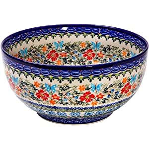 Polish Pottery Ceramika Boleslawiec, 0411/238, Bowl 23, 10 Cups, Royal Blue Patterns with Red Cornflower and Blue Butterflies Motif