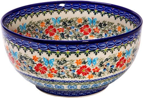 Polish Pottery Blue Art - Polish Pottery Ceramika Boleslawiec Royal Blue Patterns with Red Cornflower and Blue Butterflies Motif, Bowl 23, 10-Cups,