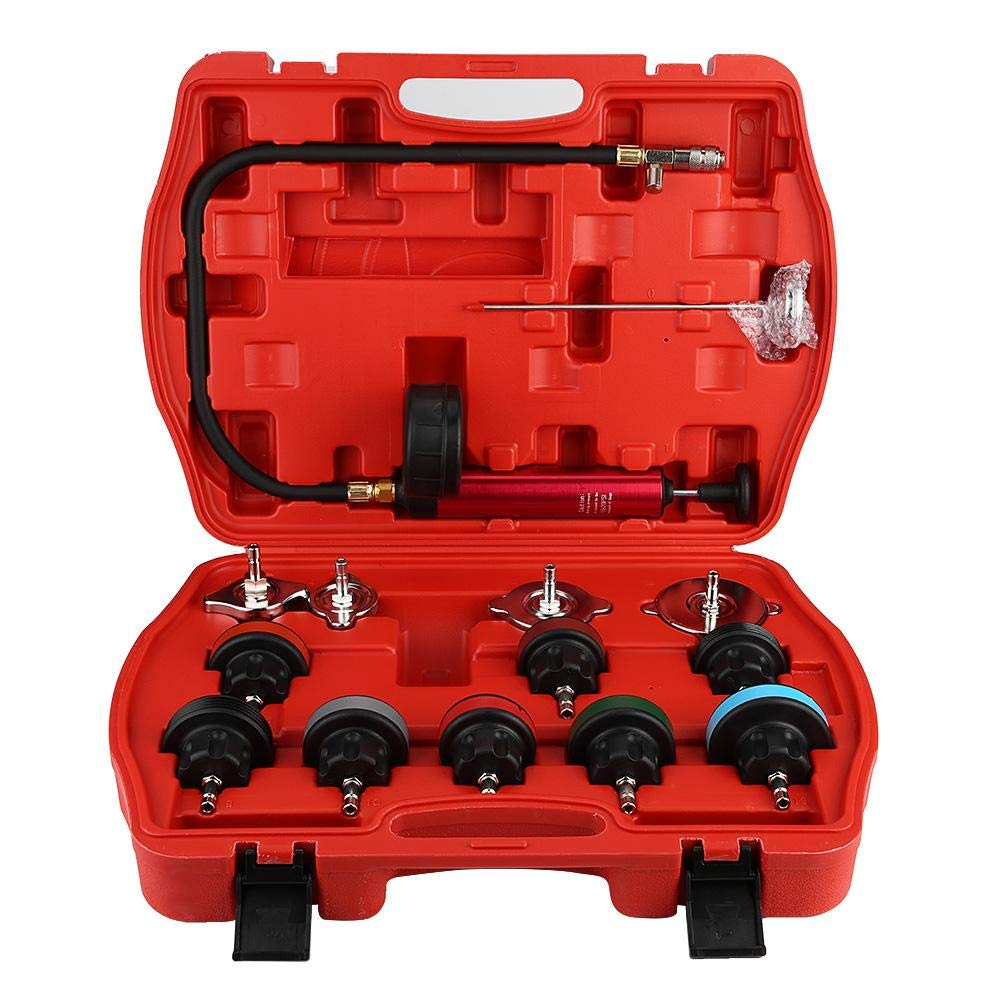Cooling System Tester, 14pcs Universal Car Water Tank Leak Tester Cooling System Detector Tool Kit by Aramox (Image #1)