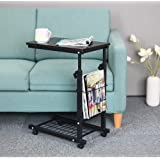 Household Height Adjustable Desk Sofa Side Table Wheel Mobile Foldable Computer Desk with Storage Basket for Home (Black)