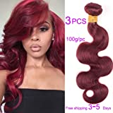 Amazon sleek 4 bundles of short natural yaky weave hair fashion lady hair 99j brazilian body wave red wine color 100 unprocessed human virgin hair pmusecretfo Choice Image